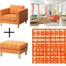 IKEA KARLSTAD HUSIE ORANGE Armchair and Footstool SLIPCOVER Chair Ottoman Cover