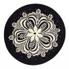 IKEA FLINGA Black White Area RUG Throw Mat MANDELA Round Snowflake Xmas