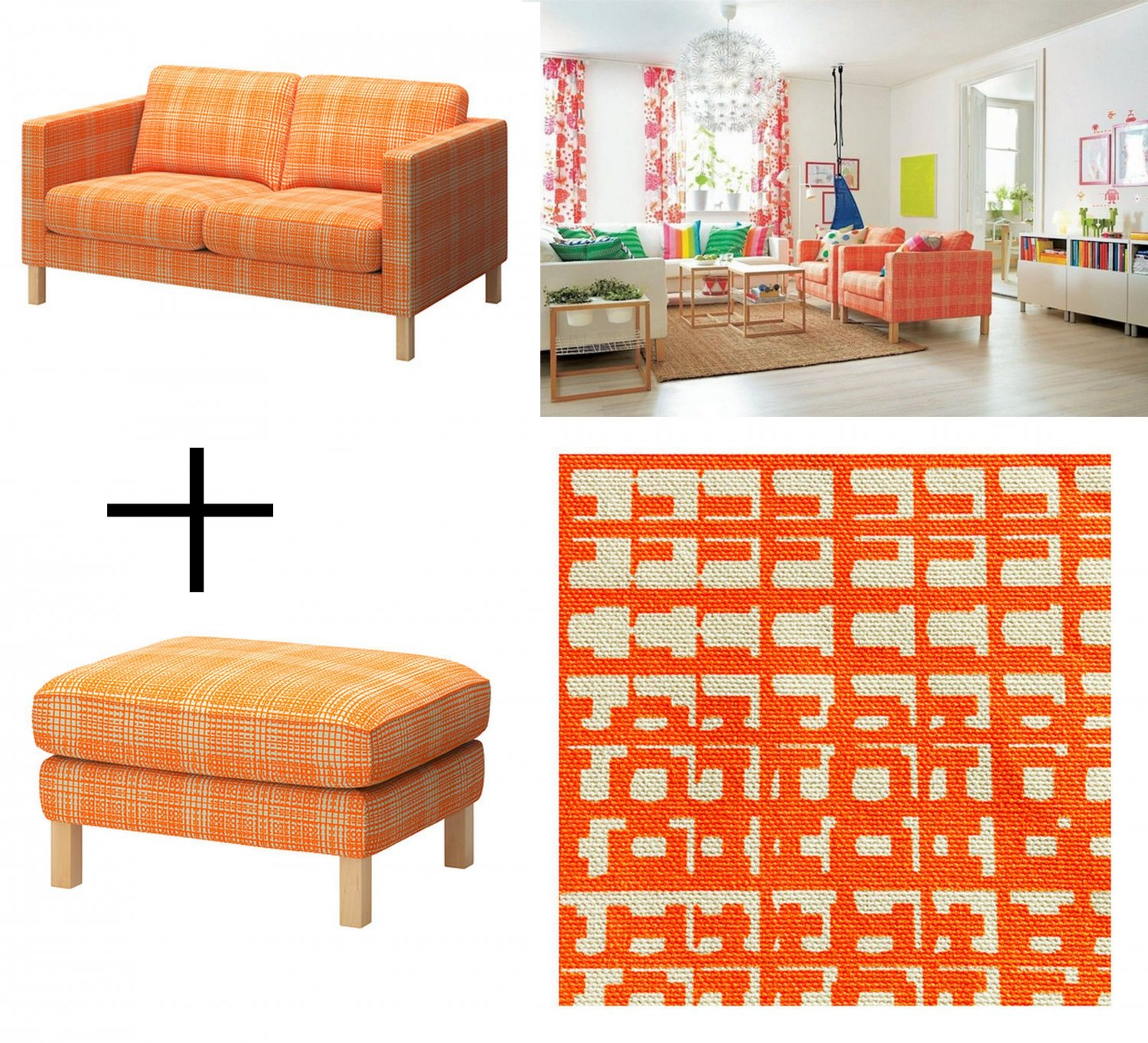 Ikea Karlstad 2 Seat Sofa And Footstool Slipcover Loveseat Ottoman Cover Husie Orange Print