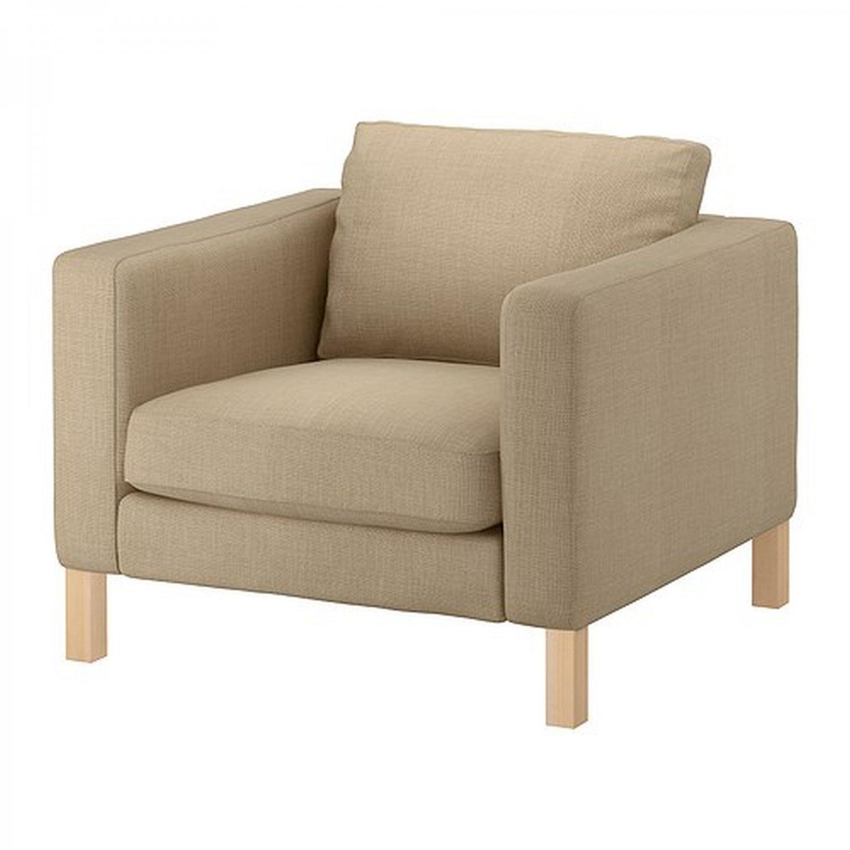 Ikea KARLSTAD Armchair SLIPCOVER Chair Cover LINDO Beige Lindö