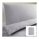 IKEA LIAMARIA QUEEN Duvet COVER Pillowcases Set GRAY Grey CHECKED Gingham Double Full