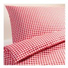 IKEA VINTER 2014 QUEEN Duvet COVER Pillowcases Set RED CHECKED Gingham Double Full Xmas
