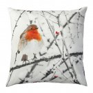 "IKEA ELDBLOMMA BIRD Cushion COVER Pillow Sham  20"" x 20"" Xmas Chalet Nature Robin Red"