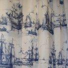 IKEA AGGERSUND Boats Fabric SHOWER Curtain BLUE White Nautical Sailing Ships Naval