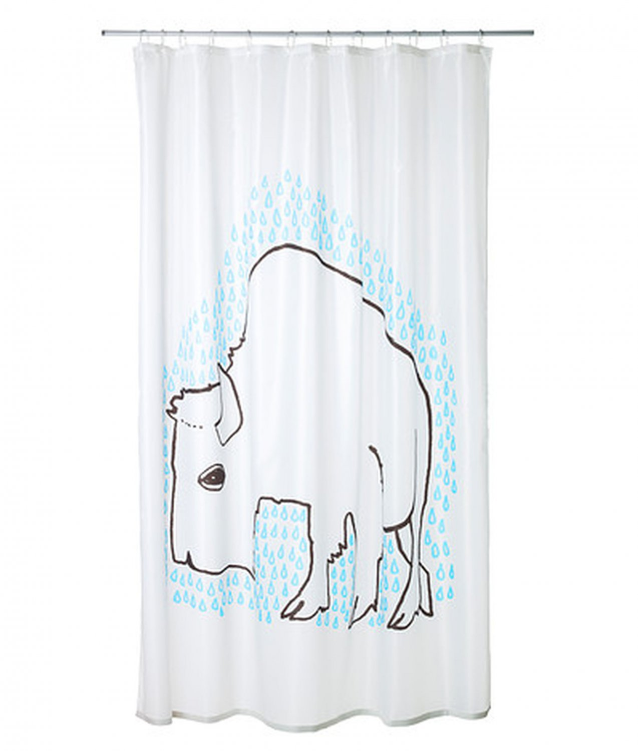 ikea tydingen fabric shower curtain blue white buffalo bison graphic. Black Bedroom Furniture Sets. Home Design Ideas