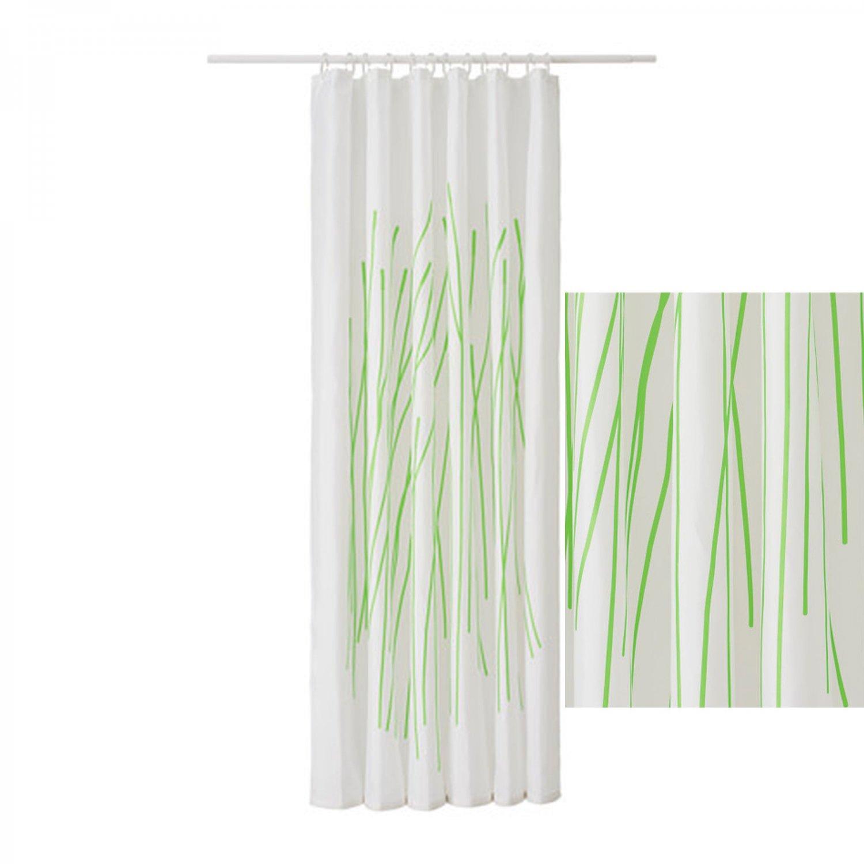 Ikea Dramselva Fabric Shower Curtain Green Bamboo Pattern