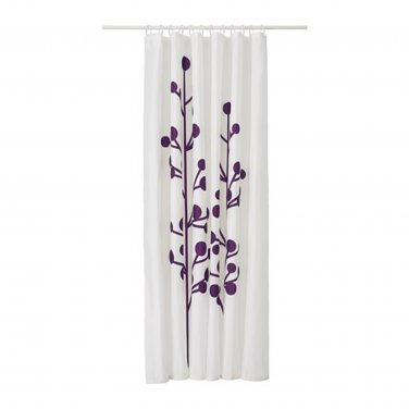 IKEA DRAMSELVA Fabric SHOWER Curtain LILAC Purple Floral Pattern WHITE