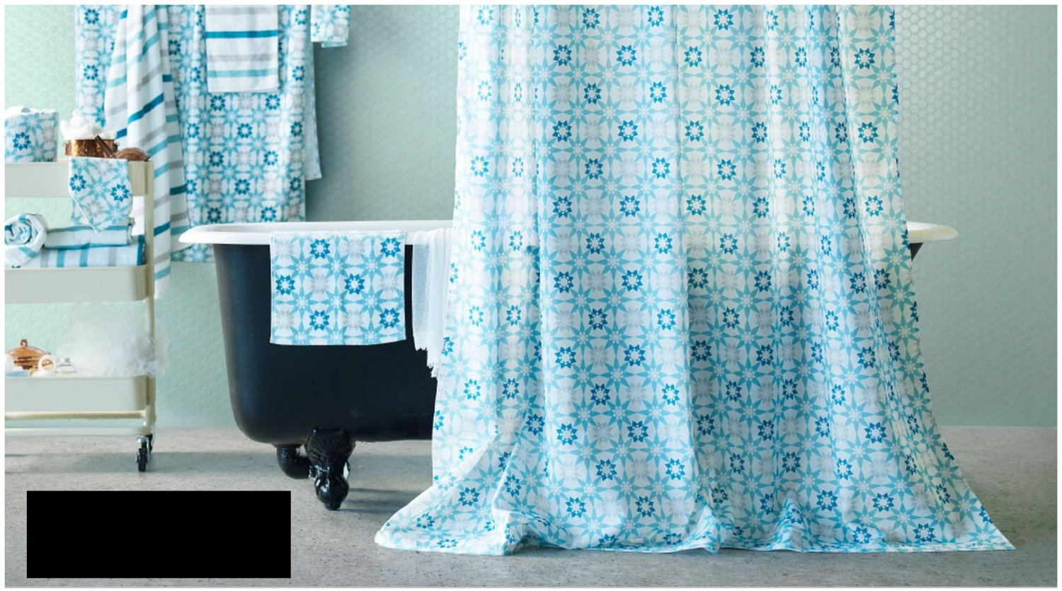 Ikea ingeborg turquoise white fabric shower curtain for Star material for curtains