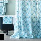 IKEA INGEBORG Turquoise White FABRIC SHOWER CURTAIN Snowflake Star Geometric Pattern