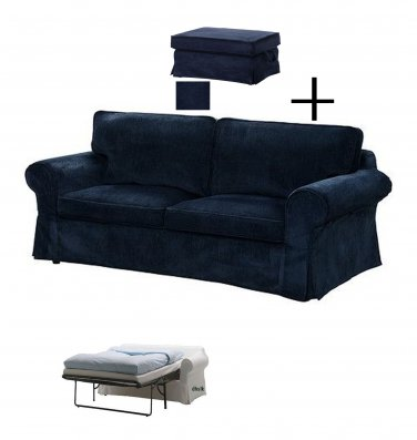 IKEA EKTORP Slipcovers for Sofa Bed and Footstool VELLINGE DARK BLUE Ottoman Sofabed Cover