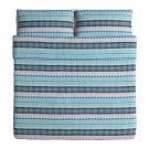 IKEA Mossflox King Duvet COVER Pillowcase Set Blue Multicolour Modern