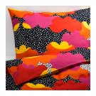 IKEA Tofsviva King Duvet COVER Pillowcase Set Orange Pink Black Multicolour Modern