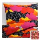 IKEA Tofsviva King Duvet COVER Pillowcase Set Orange Pink Black Multicolour Modern