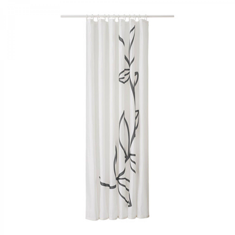 ikea dramselva fabric shower curtain gray floral pattern. Black Bedroom Furniture Sets. Home Design Ideas