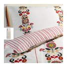 IKEA Akerkulla Twin DUVET COVER Set FLORAL STRIPES Red Gray Yellow ÅKERKULLA Swedish Xmas Single