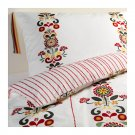 IKEA AKERKULLA QUEEN Full DUVET COVER Set FLORAL STRIPES Red Gray Yellow ÅKERKULLA
