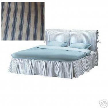 ikea morkedal queen bedframe cover blue white ticking stripes cotton lilltorp