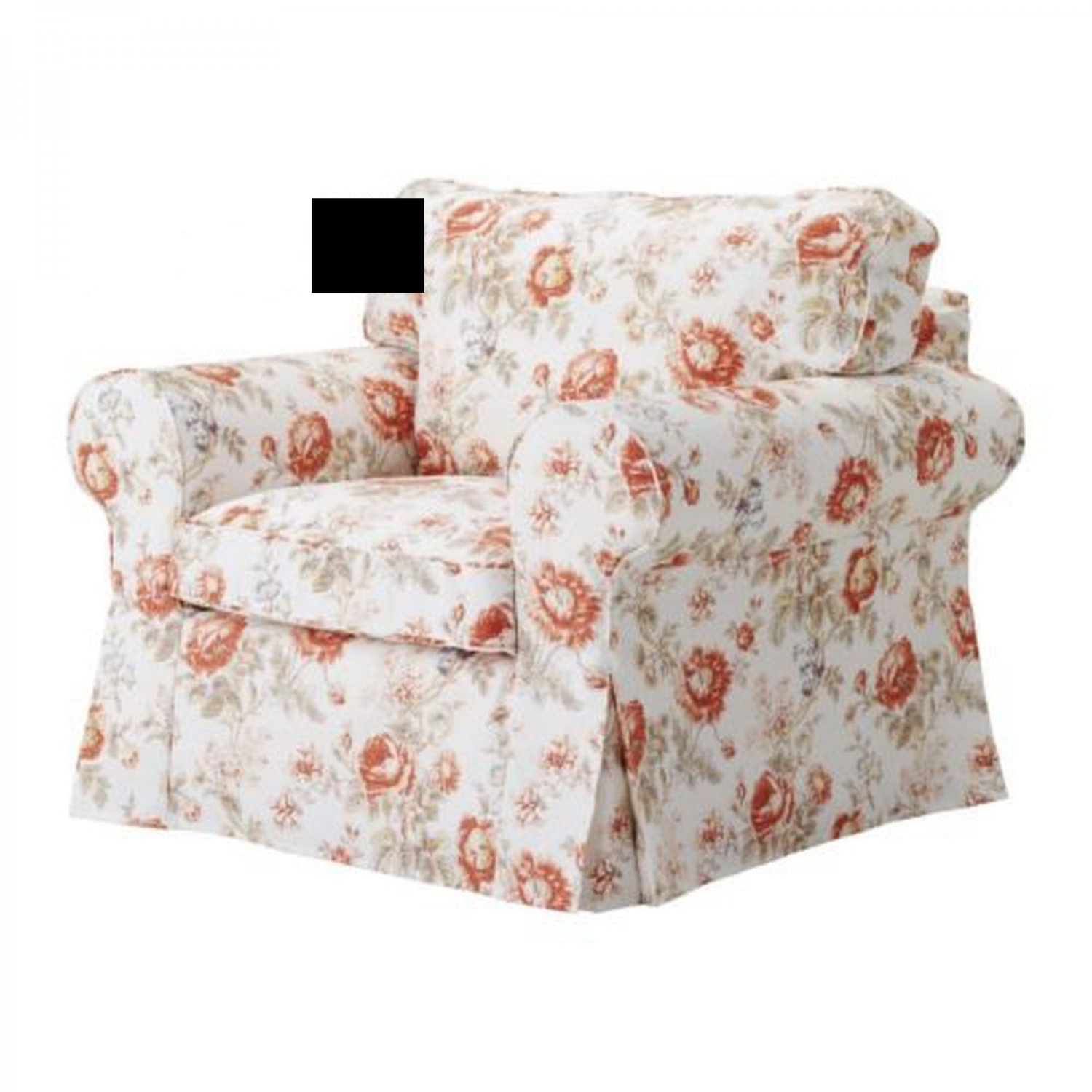 ikea ektorp armchair slipcover cover byvik multi floral rose peony. Black Bedroom Furniture Sets. Home Design Ideas