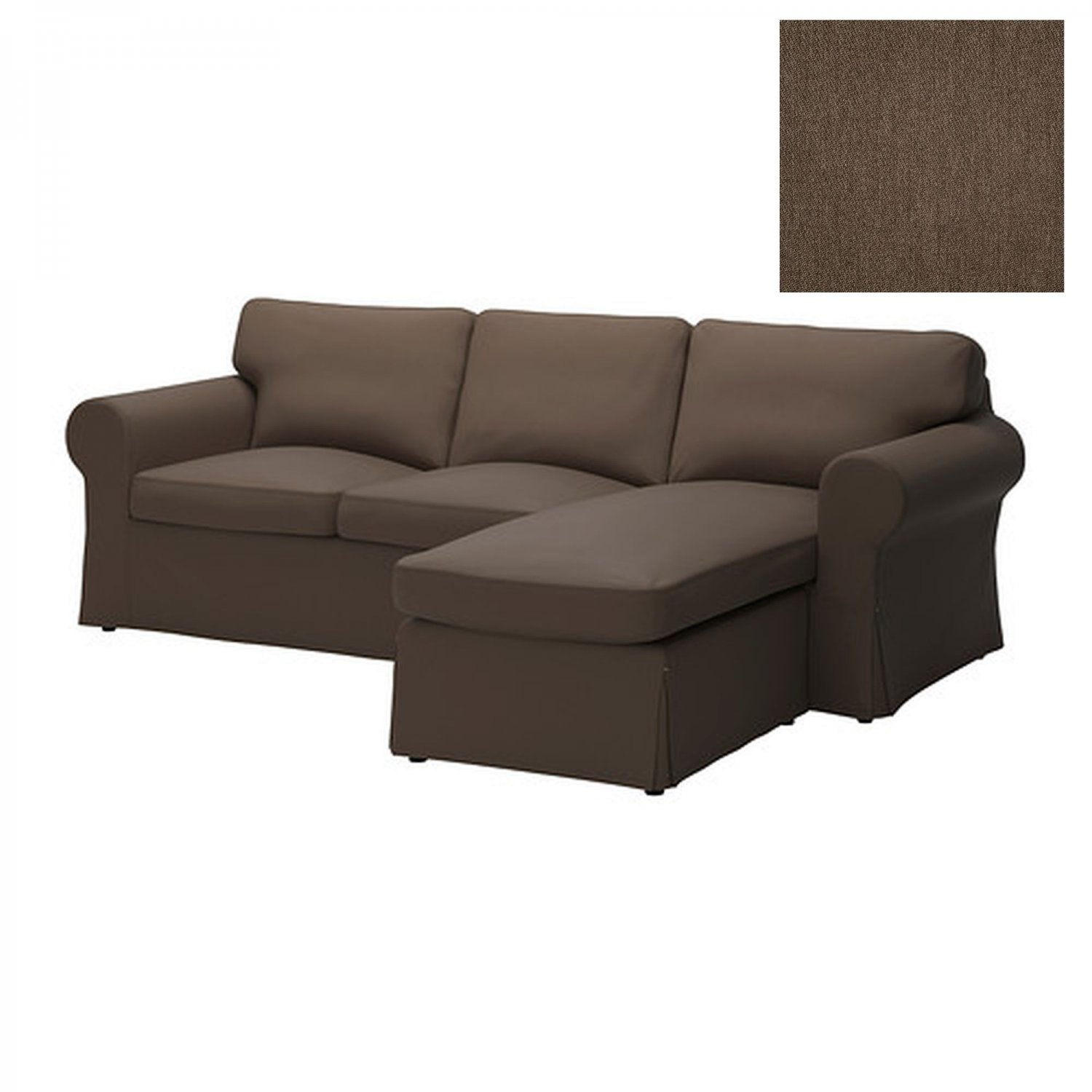 Ikea ektorp loveseat with chaise slipcover 2 seat sofa w chaise cover jonsboda brown Loveseat slip cover