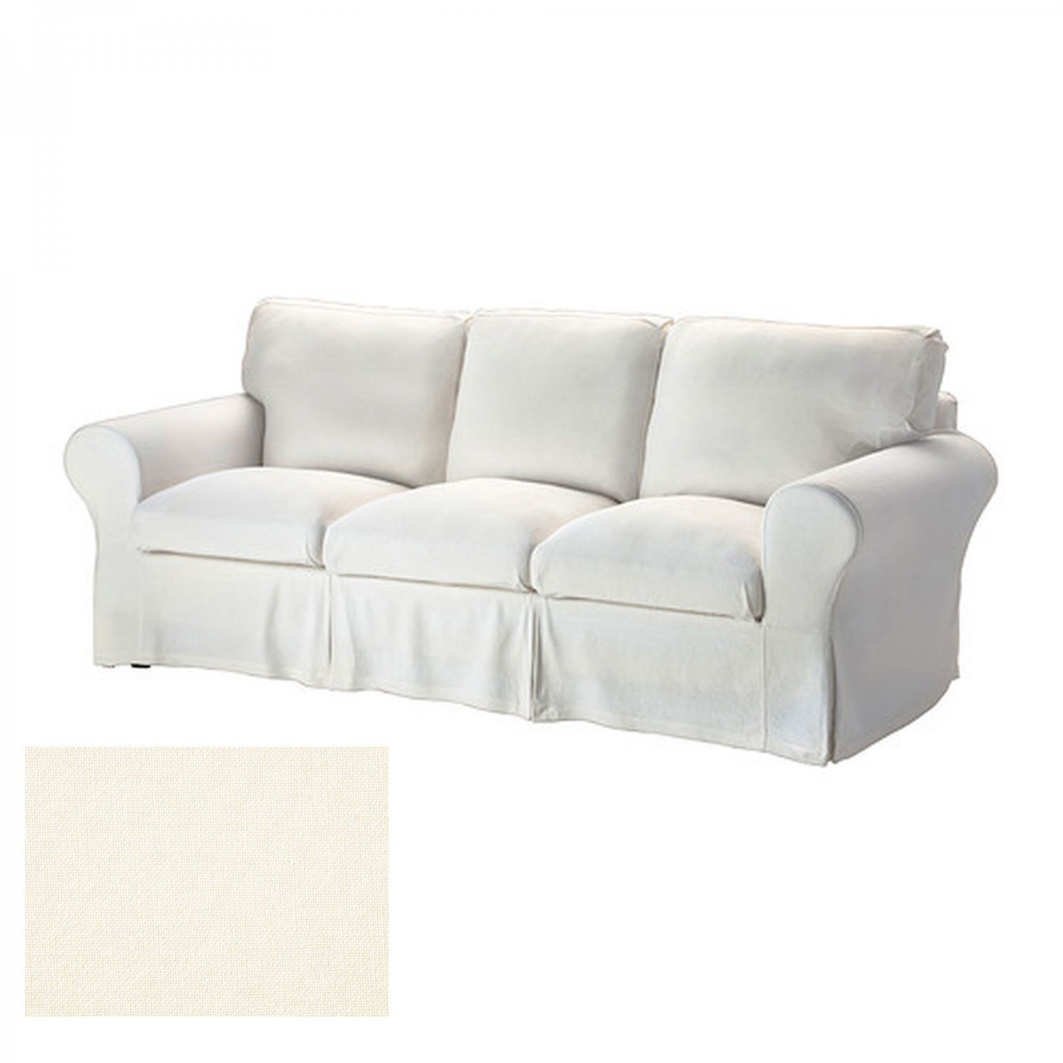 Ikea ektorp 3 seat sofa slipcover cover stenasa white off white sten sa linen blend White loveseat slipcovers