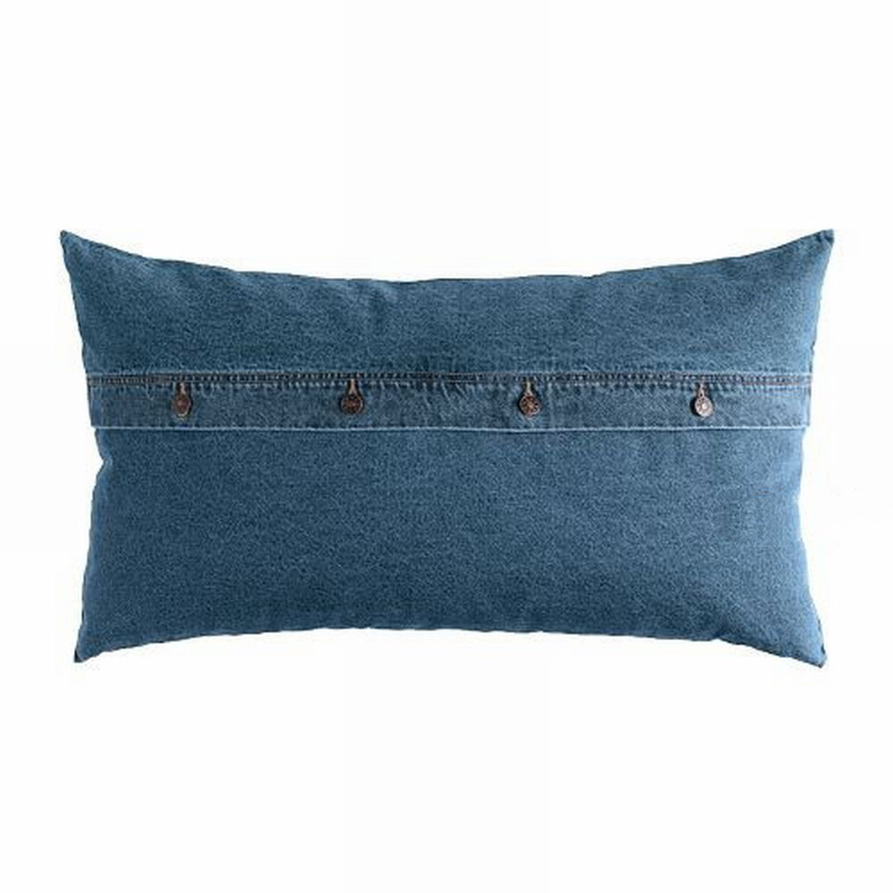 Ikea Ektorp Nabben Down Filled Cushion Jeans Denim Lumbar Throw Pillow Blue