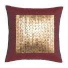 IKEA Fenja Paljett Throw PILLOW Cushion GOLD SEQUINS Burgundy Red Faux Silk Boudoir