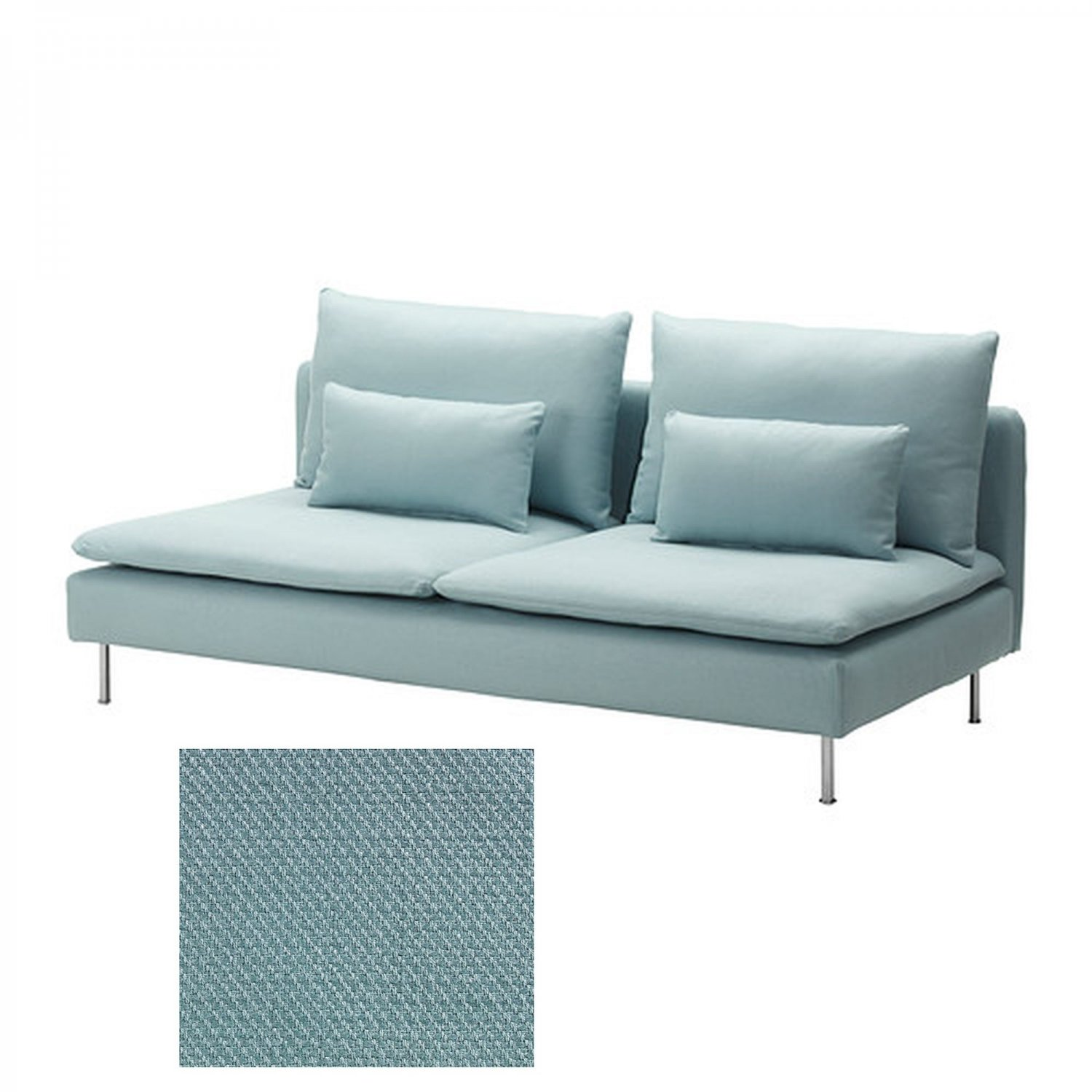 Ikea Soderhamn 3 Seat Sofa Slipcover Cover Isefall Light Turquoise Section