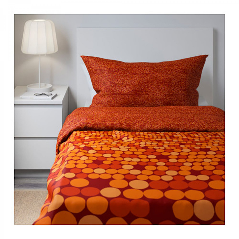 Duvet Cover embroidered %100 cotton Tan-Orange The Company ...  Orange Duvet Cover