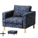 IKEA Karlstad BLADAKER BLUE Armchair and Footstool SLIPCOVER Chair Ottoman Cover Bladåker