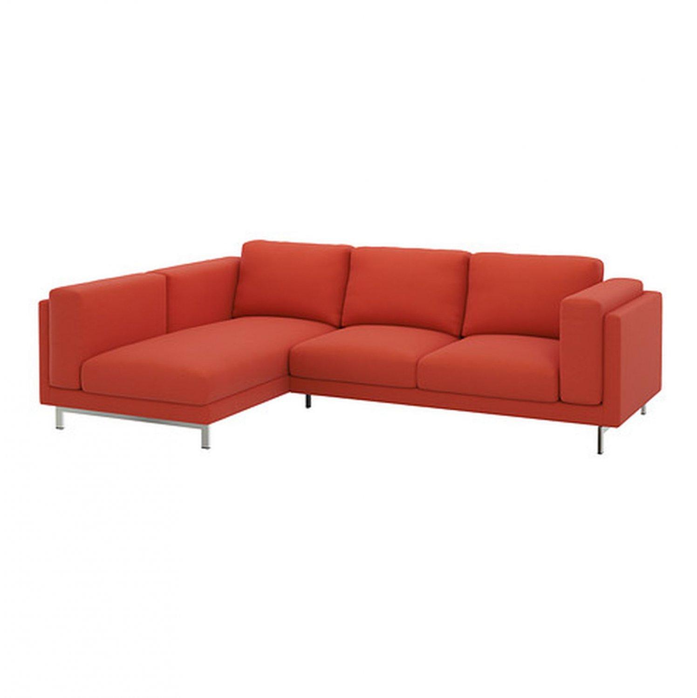 Ikea nockeby slipcover loveseat w chaise left cover risane orange linen - Ikea chaise stockholm ...