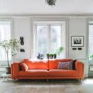 IKEA Nockeby 3 Seat Sofa SLIPCOVER Cover RISANE ORANGE Linen Blend