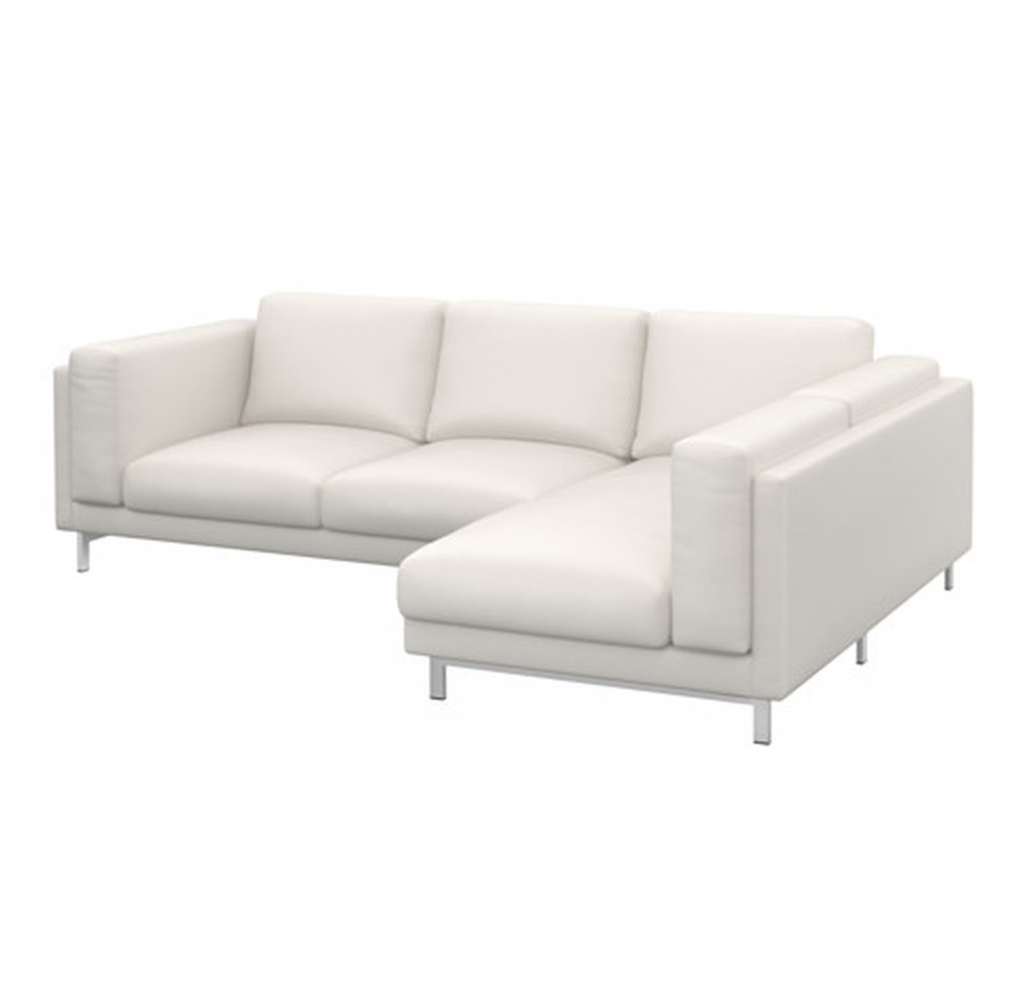 Ikea nockeby slipcover loveseat w chaise right cover risane white linen White loveseat slipcovers