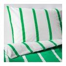 IKEA Tuvbracka TWIN Duvet COVER Pillowcase Set GREEN White Stripe TUVBRÄCKA