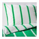 IKEA Tuvbracka QUEEN Full Duvet COVER Pillowcase Set GREEN White Stripe TUVBRÄCKA Double