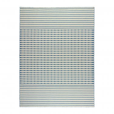 IKEA TJAREBY Area RUG Mat WOOL Blue White Striped Hand-Woven TJ�REBY Flatwoven