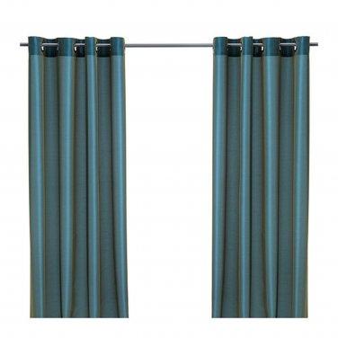 "IKEA Parlbuske Curtains GREEN-BLUE  Drapes 98""  P�RLBUSKE Green Blue Elegant Shimmer"