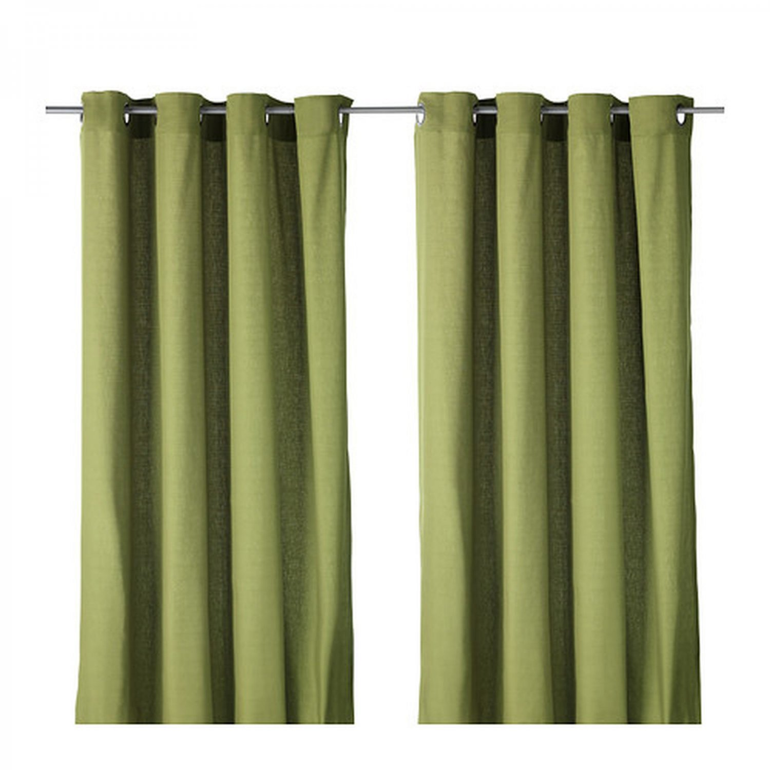 Ikea mariam curtains drapes 2 panels green grommet eyelet for Ikea curtain rods uk