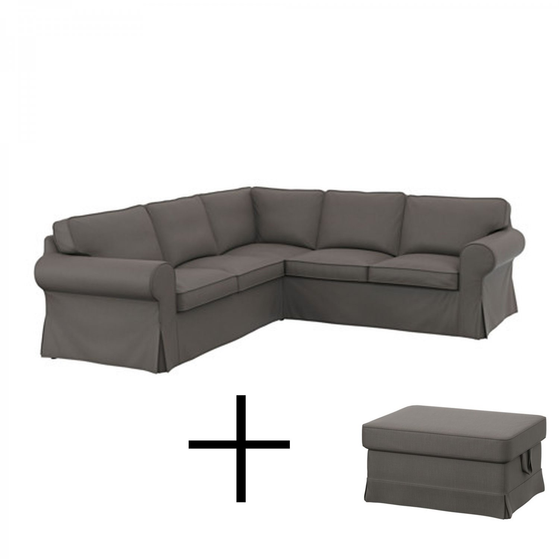 Ikea ektorp 2 2 corner sofa and footstool covers slipcover combo nordvalla gray grey - Ektorp sofa ikea ...