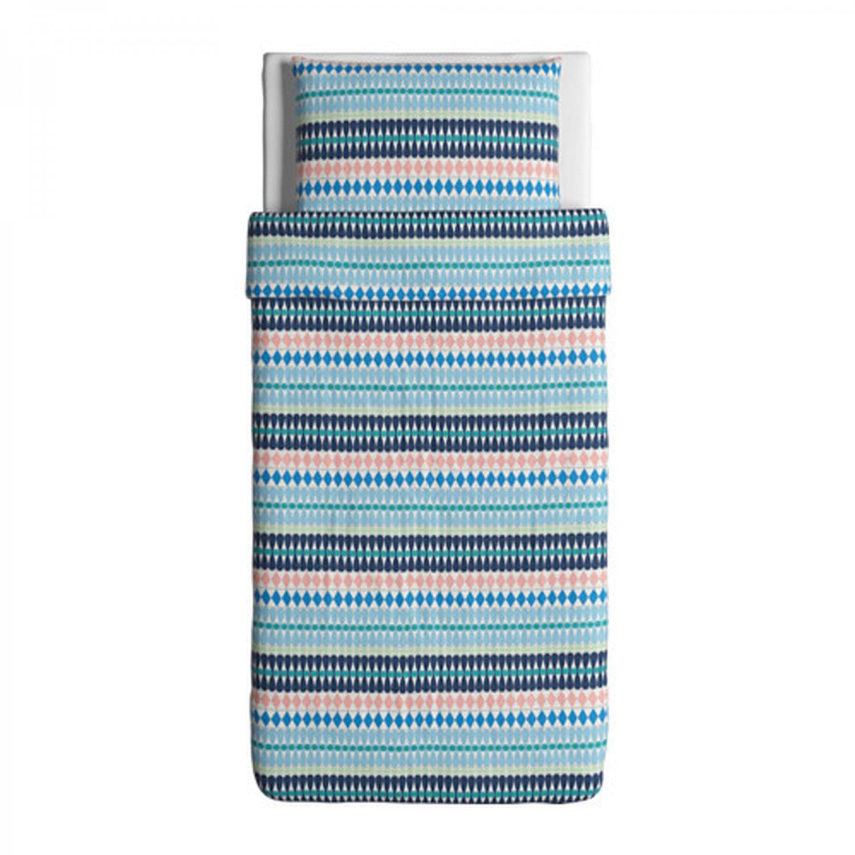 IKEA Mossflox TWIN Duvet COVER Pillowcase Set Blue Multicolour Modern