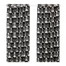 "IKEA Mattram CURTAINS Drapes 2 Panels CATFACE Black White Grommet Eyelet Header 98"" Cat Face"