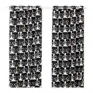 "IKEA Mattram CURTAINS Drapes 2 Panels CATFACE Black White Grommet Eyelet Header 98"" Cat Face"