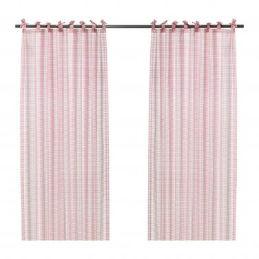 IKEA Nyvaken CURTAINS Drapes PINK Check Gingham Country Classic Tie Top