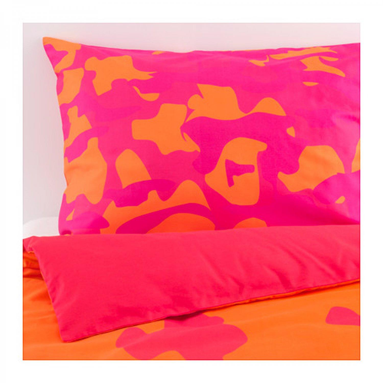 Ikea giltig queen full duvet cover pillowcases set orange pink katie