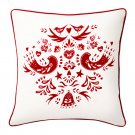 "IKEA Vinter 2016 CUSHION COVER Pillow Sham RED White 20"" x 20"" Scandinavian Birds Flowers Xmas"
