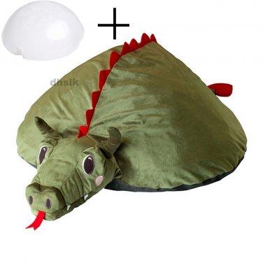 IKEA Sagodrake DRAGON Green Cushion COVER and AIR PILLOW INSERT Kids Sagosten