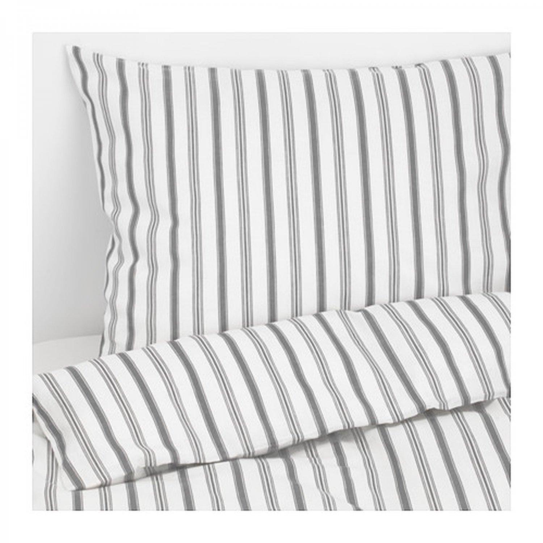 IKEA Hostoga QUEEN Full DUVET COVER Pillowcases Set TICKING STRIPES Gray Grey H�ST�GA