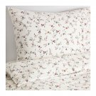 IKEA Ljusoga QUEEN Full Double Duvet COVER Pillowcases Set Floral Delicate Flower Sprays LJUSÖGA