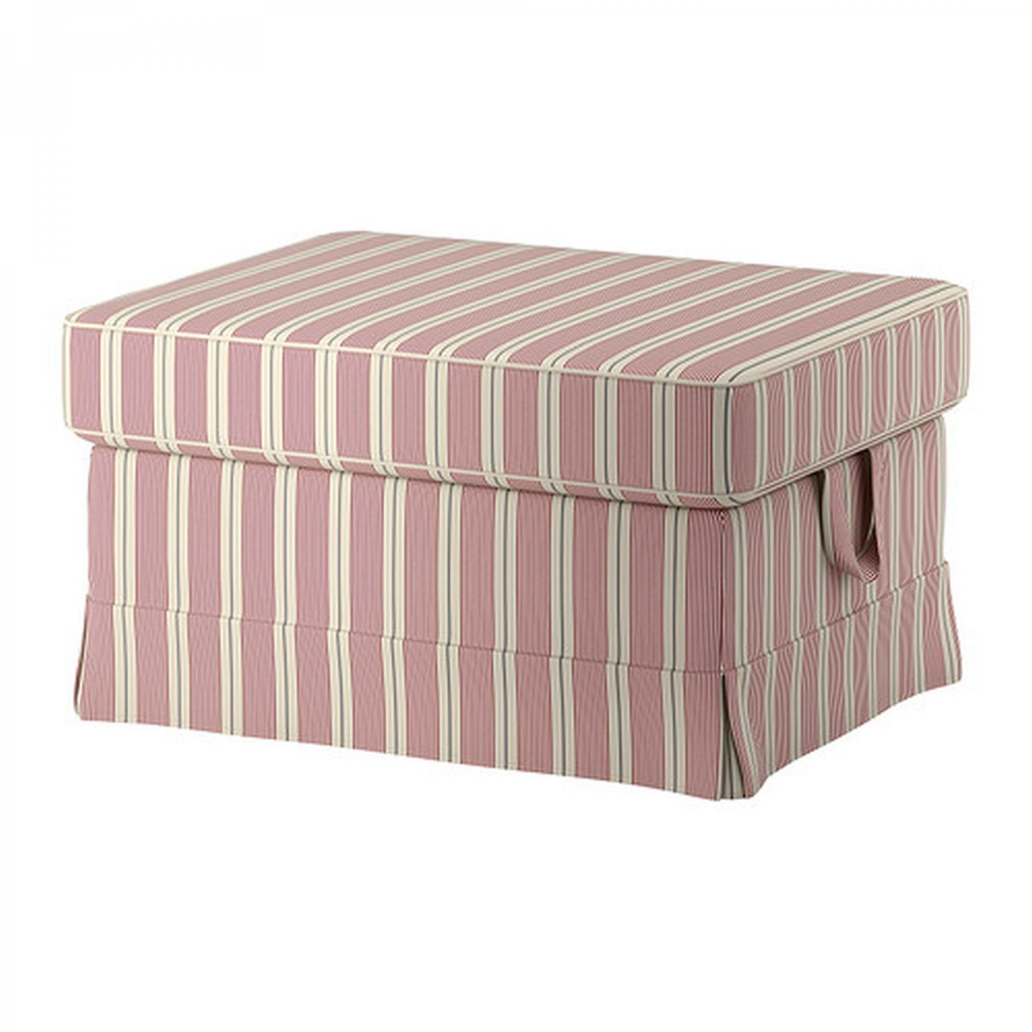 IKEA Ektorp Footstool SLIPCOVER Ottoman Cover MOBACKA Ticking Stripes RED Beige
