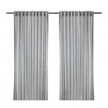 IKEA Gulsporre Drapes CURTAINS Striped Gray White Grey 2 Panels
