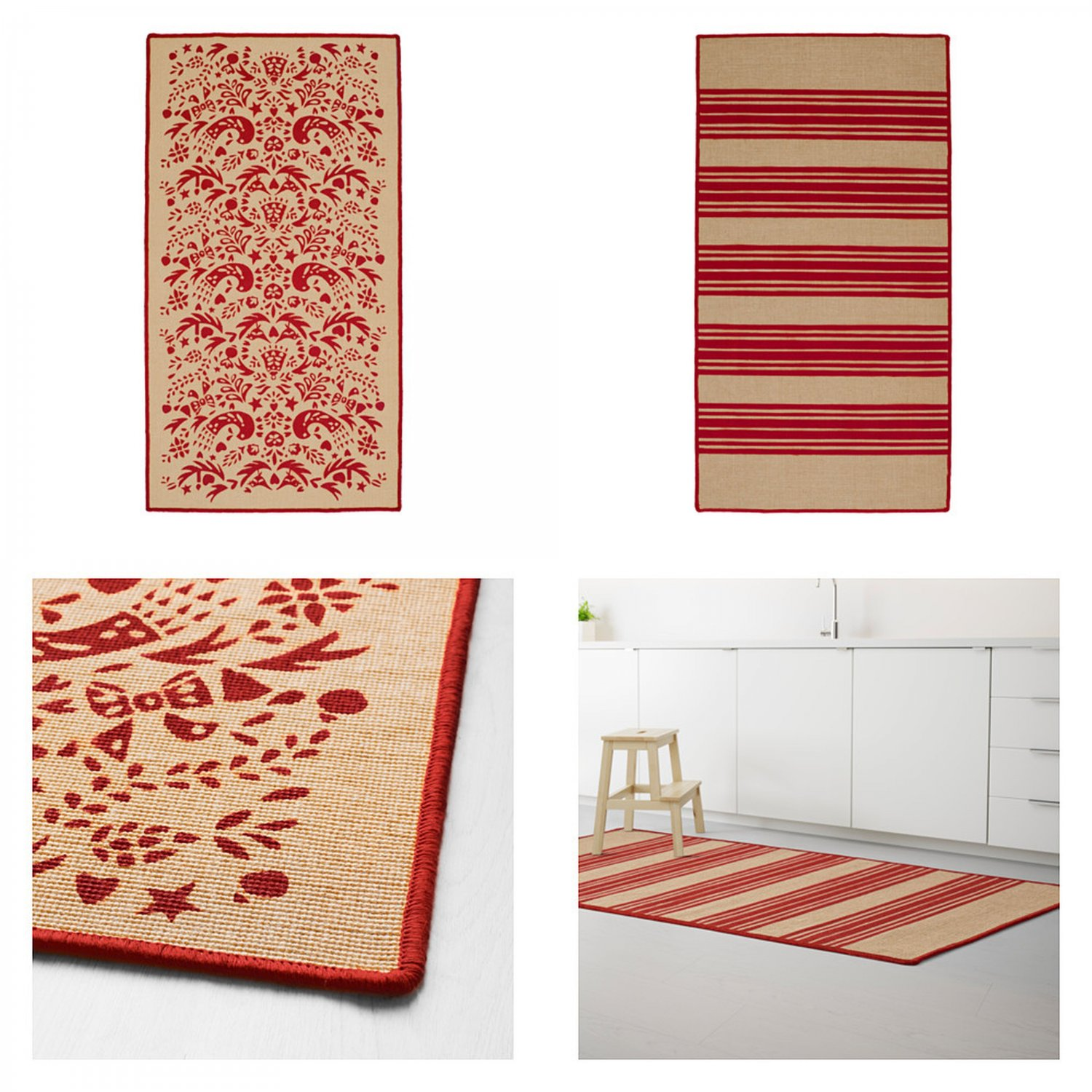 Ikea Kitchen Rugs Canada: IKEA Vinter 2016 RED Striped Tolle Pattern RUG Area Throw